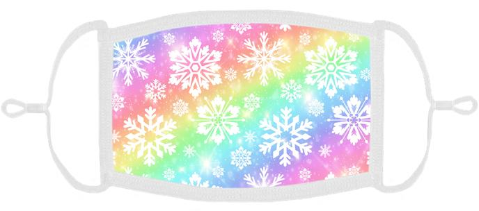 YOUTH SIZE - Snowflakes Fabric Face Mask