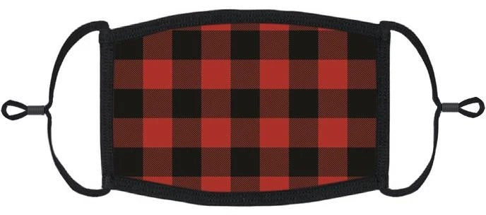 XLARGE Red Buffalo Plaid Fabric Face Mask