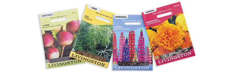 Miscellaneous Livingston Seeds Packet Line-up