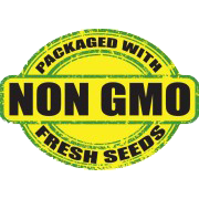 "YELLOW AND GREEN Icon with Black Text that reads ""Packaged with Non-GMO Fresh Seeds"""