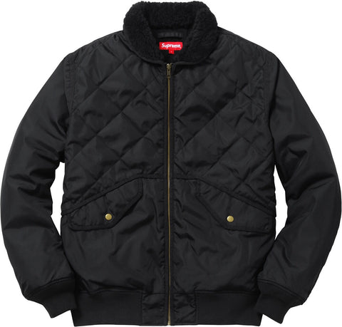Supreme Quilted Nylon Tanker Jacket - Black