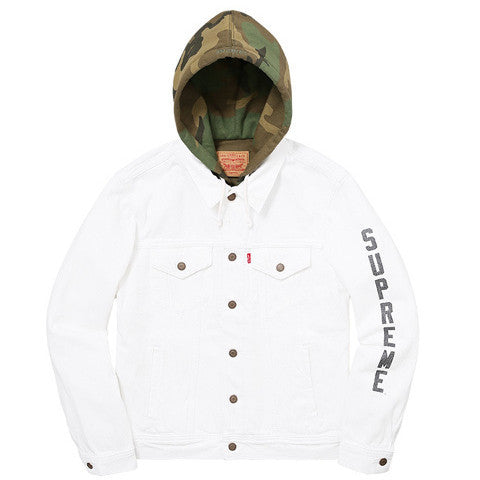 Supreme/Levi's Fleece Hood Trucker Jacket - White