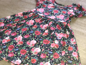 Navy & Pink Floral Twirl Hugs Dress - RTS