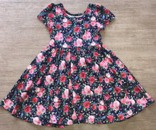 Load image into Gallery viewer, Navy & Pink Floral Twirl Hugs Dress - RTS