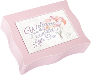 Welcome to World Little One Balloons Baby Pink Wavy Music Box Plays Brahms Lullaby