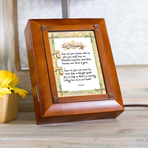 Cottage Garden in Memory Old World Script Woodgrain Remembrance Keepsake Box - The Candle Shack