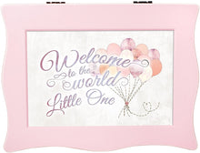 Load image into Gallery viewer, Cottage Garden Welcome to World Little One Balloons Baby Pink Wavy Music Box Plays Brahms Lullaby - The Candle Shack