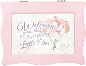 Cottage Garden Welcome to World Little One Balloons Baby Pink Wavy Music Box Plays Brahms Lullaby - The Candle Shack