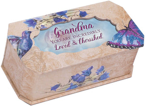 Cottage Garden Grandma Incredibly Loved Butterfly and Bird Glitter Musical Box Plays Tune Edelweiss - The Candle Shack