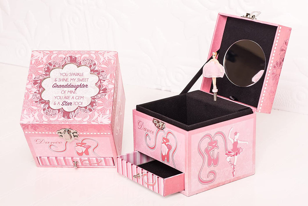 Sweet Granddaughter A Star Pink Papier Rotating Ballerina Musical Jewelry Box Plays Swan Lake