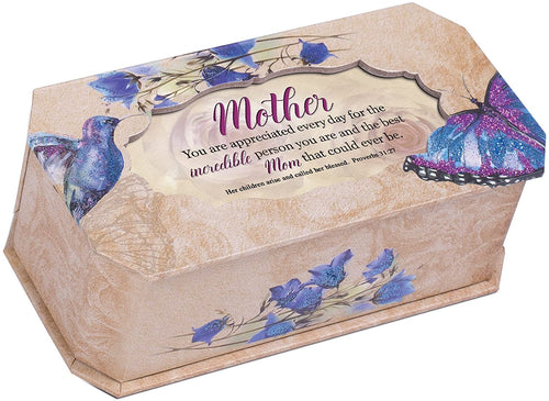 Mother Incredible Person Butterfly and Bird Glitter Music Box Plays Amazing Grace