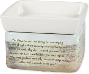 Footprints in The Sand Ceramic Stoneware Electric 2 in 1 Jar Candle and Wax and Oil Warmer - The Candle Shack