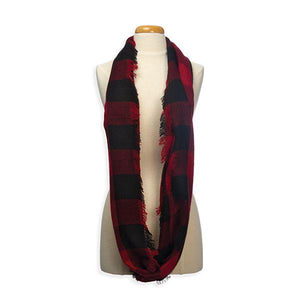Buffalo Plaid Woven Infinity Scarf - The Candle Shack