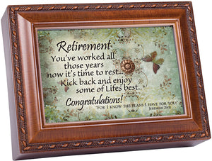 Retirement Wood grain Music Box/Jewelry Box Plays Amazing Grace