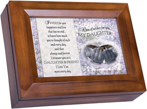 Cottage Garden Box of Wishes for You Daughter Wood grain Digital Keepsake Music Box Plays The Dance - The Candle Shack