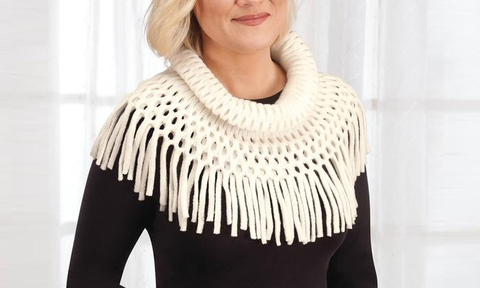 Women's Britt's Knits Fringe Benefits Open Weave Infinity Scarf - The Candle Shack