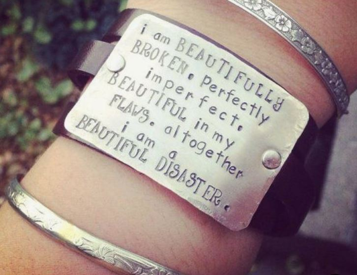 """I am beautifully broken, perfectly imperfect, beautiful in my flaws. Altogether i am a beautiful disaster."" Unique Hand-stamped genuine leather wrap cuff bracelet."