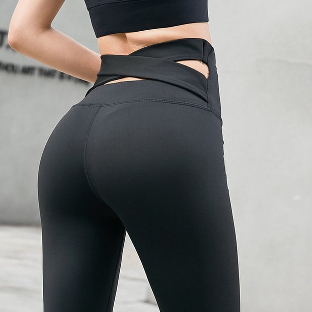 Black Women's Leggings- Cross Belt