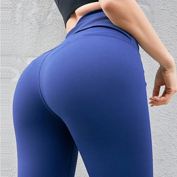 Blue Women's Leggings- Cross Belt