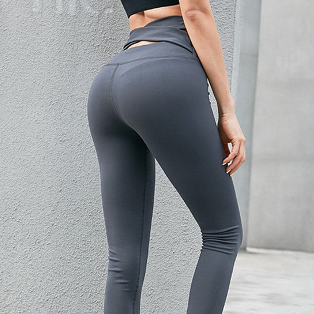 Deep Gray Women's Leggings- Cross Belt