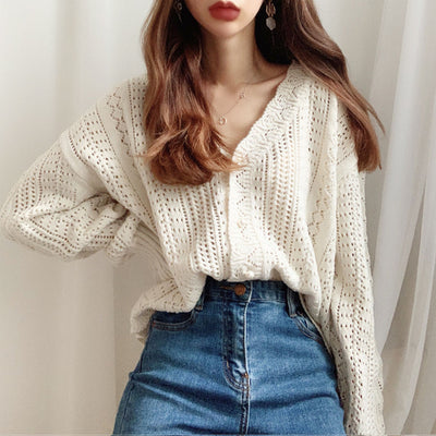Over-sized V-Neck Cardigan For Women