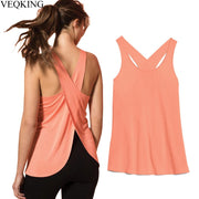 Women Cross Back Sleeveless Fitness Top, Yoga Top