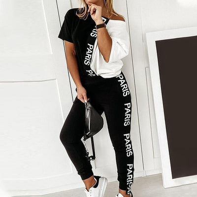 Black/White Women's Tracksuit , Off Shoulder