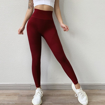Red High Waisted Leggings with tummy control