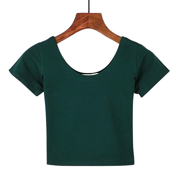 Dark Green Women's Crop Top