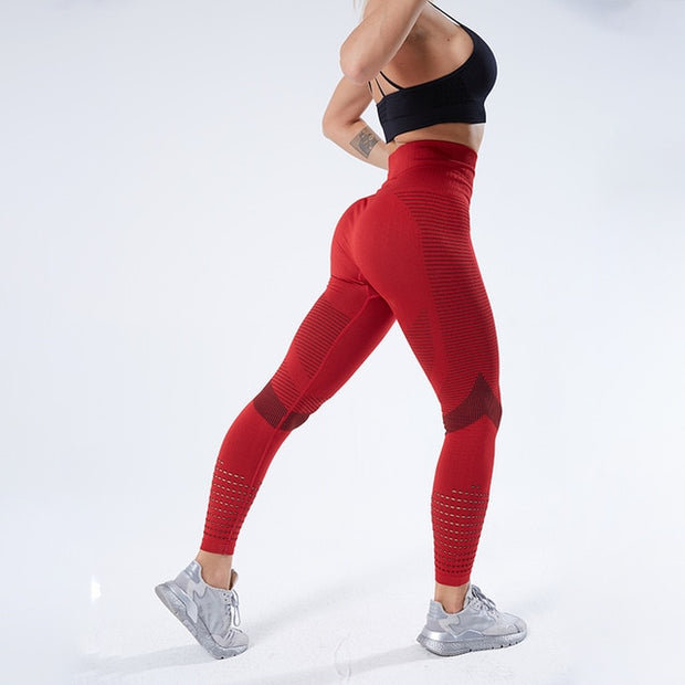 Red Women's Leggings, Push-Up