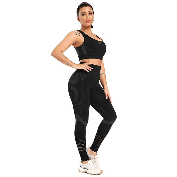 High Waist Seamless Bra & Leggings Set, Workout