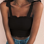 Black Women's Crop Top - Pleated- Bow Ties
