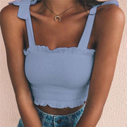 Light Blue Women's Crop Top - Pleated- Bow Ties