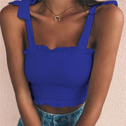 Blue Women's Crop Top - Pleated- Bow Ties