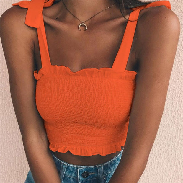 Orange Women's Crop Top - Pleated- Bow Ties
