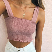 Pink Women's Crop Top - Pleated- Bow Ties