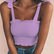 Lavender Women's Crop Top - Pleated- Bow Ties