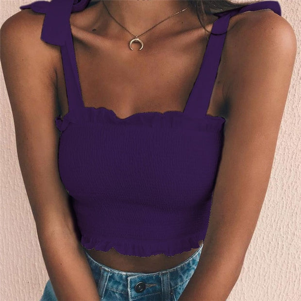 Purple Women's Crop Top - Pleated- Bow Ties
