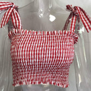Red/White Women's Crop Top - Pleated- Bow Ties