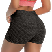 Black Women's Shorts - Ruched- Push Up