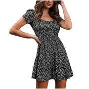 Black Women's Mini Dress - Floral Print
