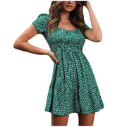 Green Women's Mini Dress - Floral Print