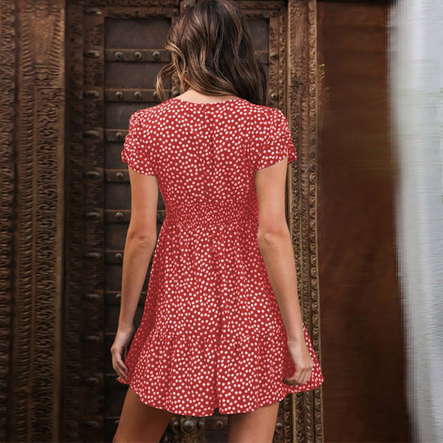 Red Women's Mini Dress - Floral Print