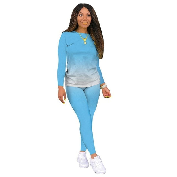 Light Blue Women's Loungewear Set, Gradient Print