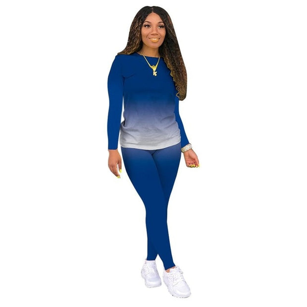 Blue Women's Loungewear Set, Gradient Print