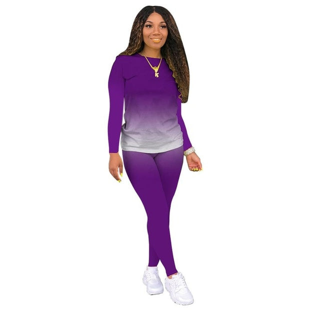 Purple Women's Loungewear Set, Gradient Print