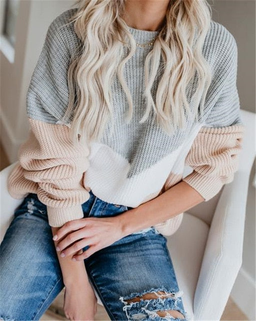 Gray Colorblock Women's Oversized Knit Sweater