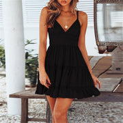 Black Women's Mini Dress - V Neck