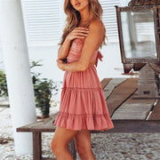 Pink Women's Mini Dress - V Neck