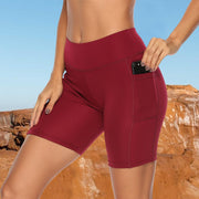 Red Women's Yoga Shorts